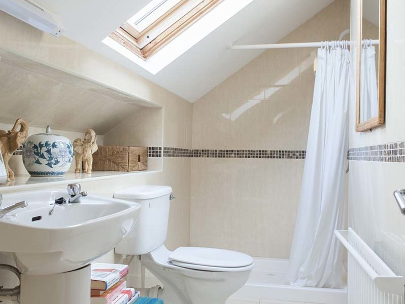 Charming Townhouse Skylight Bath