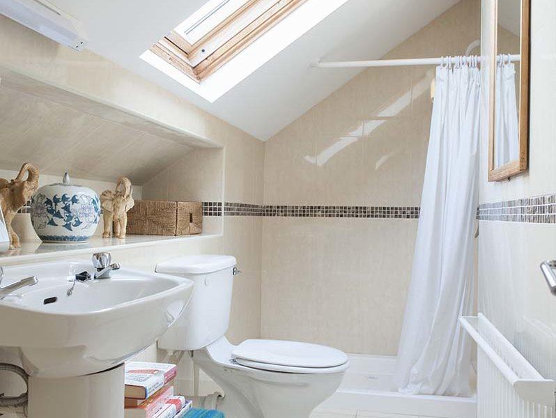 Charming Townhouse Skylight Bath